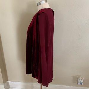NWOT velvet silk high low blouse